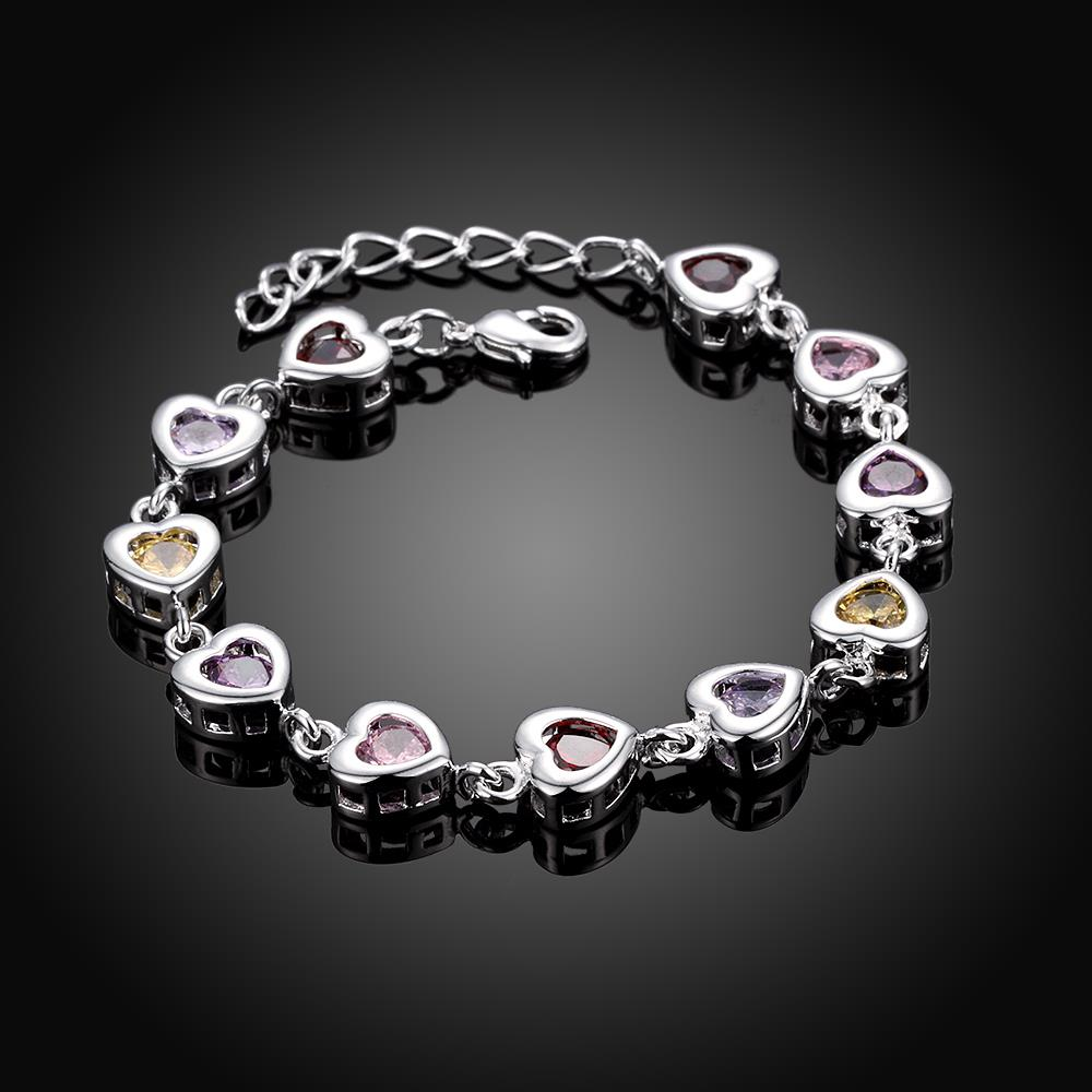 Wholesale Romantic colorful hearts Silver CZ Bracelet TGSPB016 1