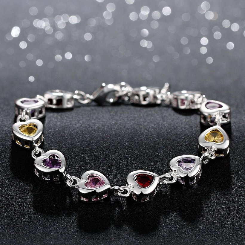 Wholesale Romantic colorful hearts Silver CZ Bracelet TGSPB016 2