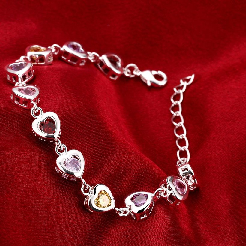Wholesale Romantic colorful hearts Silver CZ Bracelet TGSPB016 3