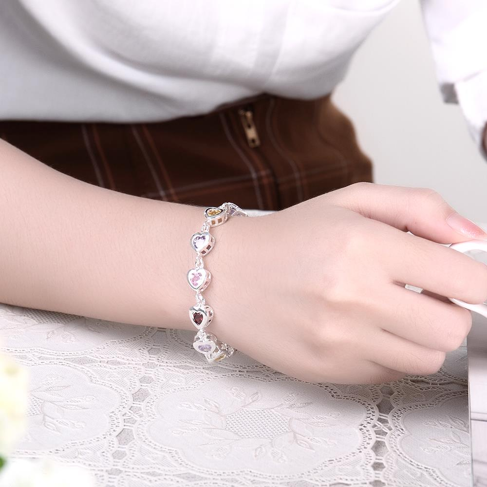 Wholesale Romantic colorful hearts Silver CZ Bracelet TGSPB016 4