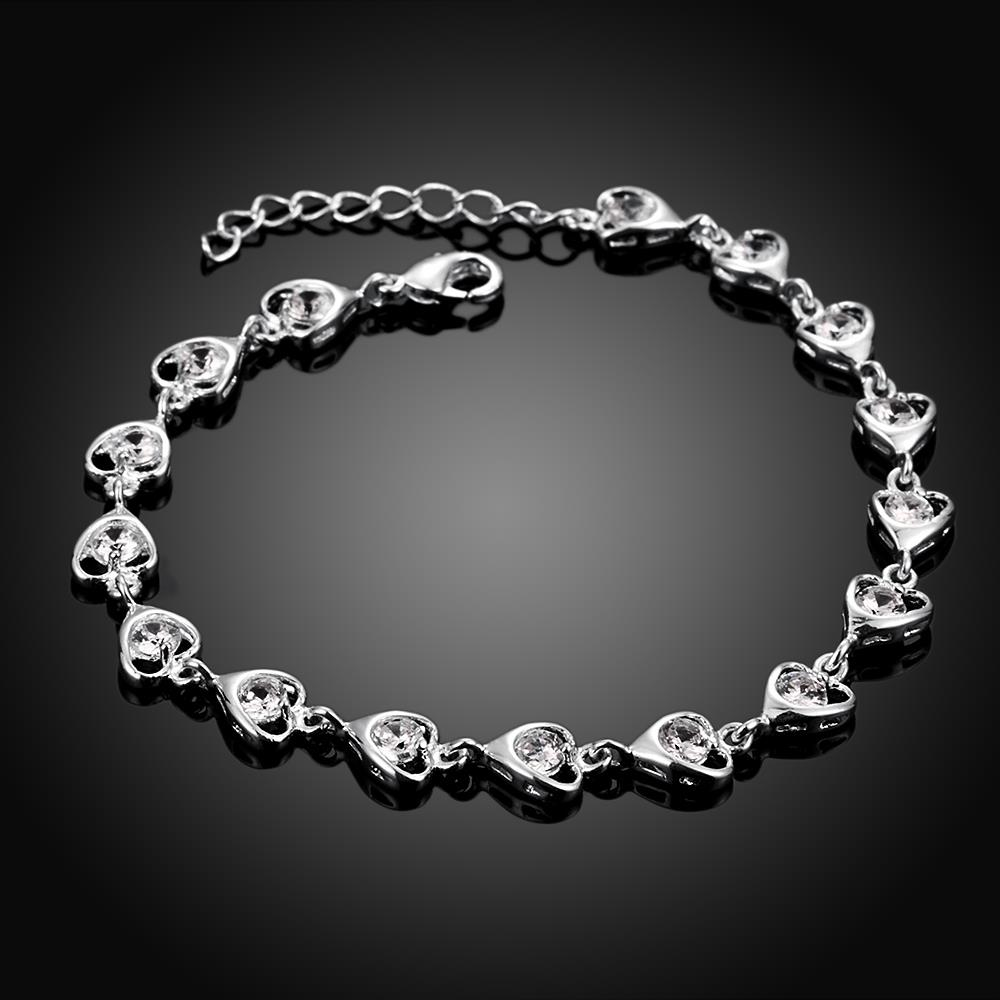 Wholesale Romantic Silver Heart CZ Bracelet TGSPB323 1