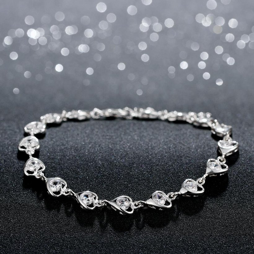 Wholesale Romantic Silver Heart CZ Bracelet TGSPB323 2