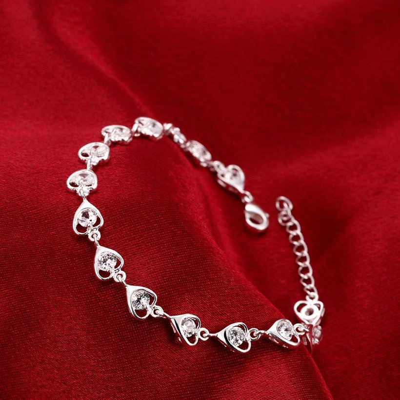 Wholesale Romantic Silver Heart CZ Bracelet TGSPB323 3