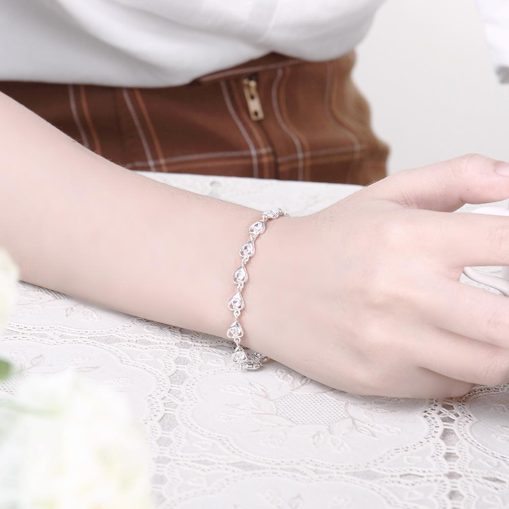 Wholesale Romantic Silver Heart CZ Bracelet TGSPB323 4