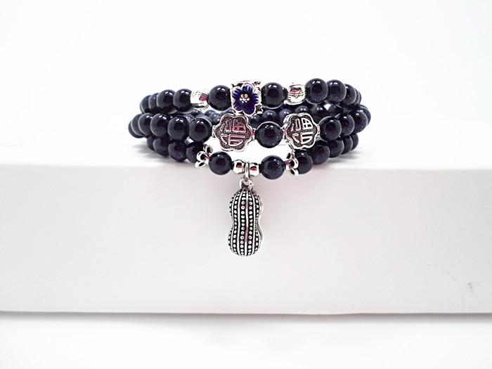 Wholesale Blue gold sand natural stone stretch peanut bracelet elastic pulserase retro beads charms expandable women fashion jewelry VGB038 1