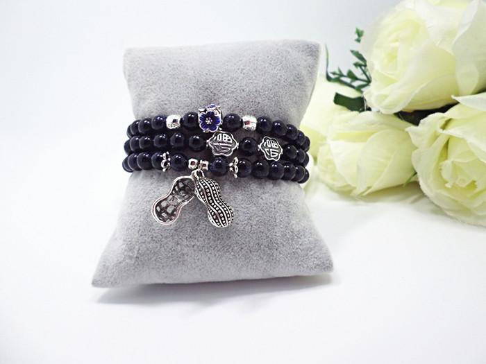 Wholesale Blue gold sand natural stone stretch peanut bracelet elastic pulserase retro beads charms expandable women fashion jewelry VGB038 4