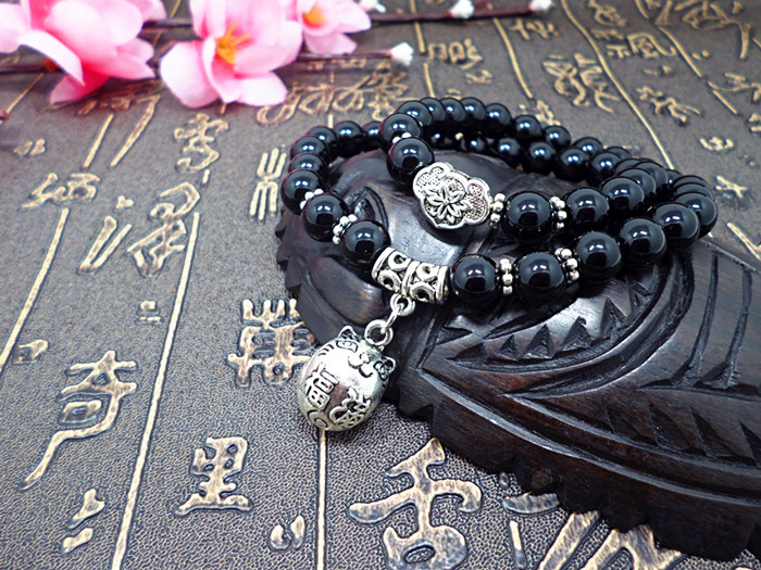 Wholesale Obsidian Bracelet Square crystal Beaded for men and women Yoga Hand Jewelry Accessories Wristband VGB042 2