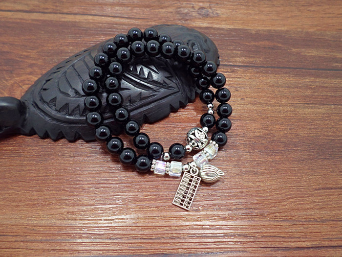 Wholesale Obsidian Bracelet Square crystal Beaded for men and women Yoga Hand Jewelry Accessories Wristband VGB042 4