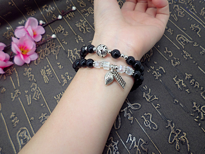 Wholesale Obsidian Bracelet Square crystal Beaded for men and women Yoga Hand Jewelry Accessories Wristband VGB042 5
