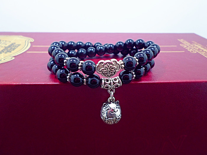 Wholesale Obsidian Bracelet Square crystal Beaded for men and women Yoga Hand Jewelry Accessories Wristband VGB042 6