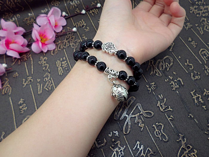 Wholesale Obsidian Bracelet Square crystal Beaded for men and women Yoga Hand Jewelry Accessories Wristband VGB042 7