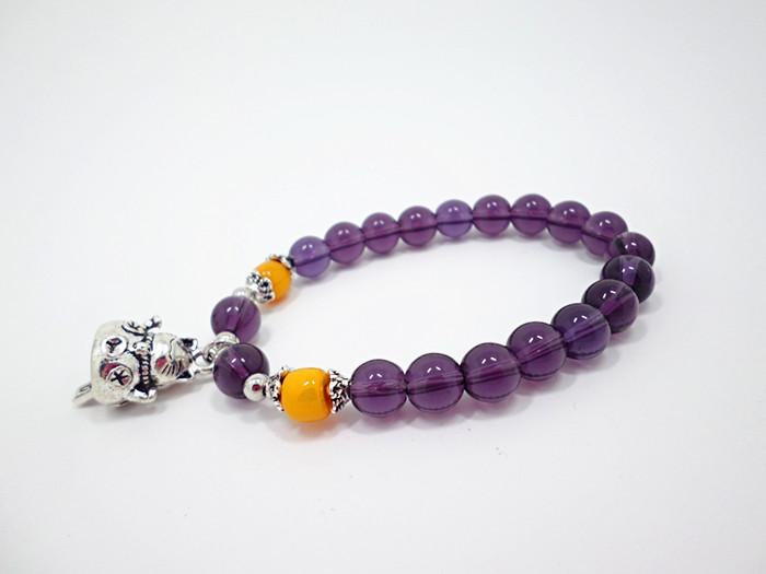 Wholesale 2020 Lucky Cat Stone Beads Bracelet Bangles Simple Sweet Amethyst Bracelets for Women Girls Birthday Gift Charm Jewelry VGB043 2
