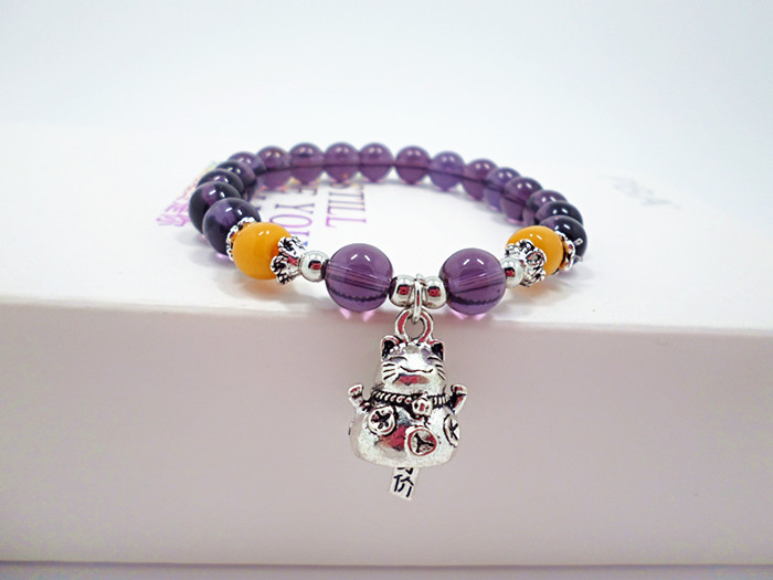 Wholesale 2020 Lucky Cat Stone Beads Bracelet Bangles Simple Sweet Amethyst Bracelets for Women Girls Birthday Gift Charm Jewelry VGB043 3