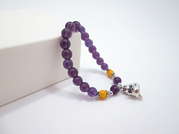 Wholesale 2020 Lucky Cat Stone Beads Bracelet Bangles Simple Sweet Amethyst Bracelets for Women Girls Birthday Gift Charm Jewelry VGB043 4