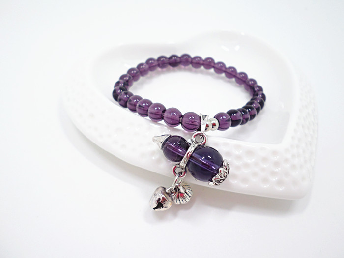 Wholesale Natural Amethysts and brown quartz Bracelet beads Necklace Yoga Mala Stone Bracelet for Women gourd Energy Jewelry VGB045 0