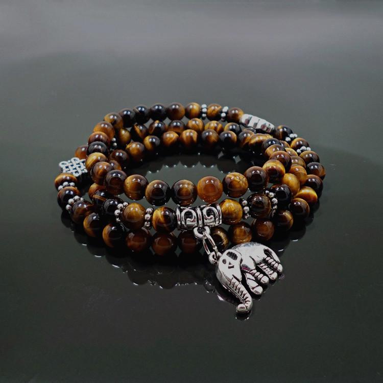 Wholesale Natural Stone Beads Buddha  elephant Bracelet Brown Tiger Eyes Yoga Meditation Braclet For Men Women Hand Jewelry Homme Unisex VGB095 1