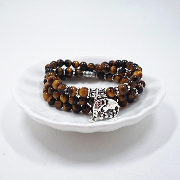 Wholesale Natural Stone Beads Buddha  elephant Bracelet Brown Tiger Eyes Yoga Meditation Braclet For Men Women Hand Jewelry Homme Unisex VGB095 5