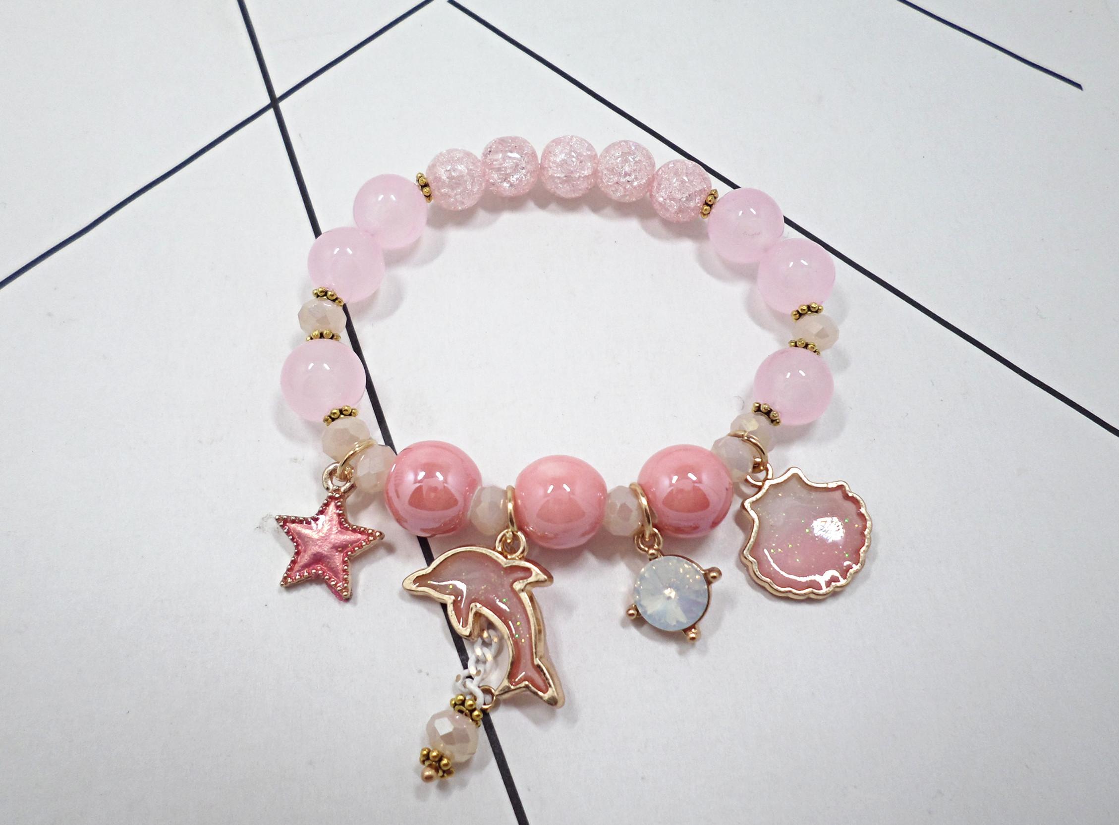 Wholesale Korean Sweet Marine Dolphin Shell Flower Charm Bracelet Crystal Beads Bracelets for Women Beach Holiday Fashion Jewelry VGB100 0