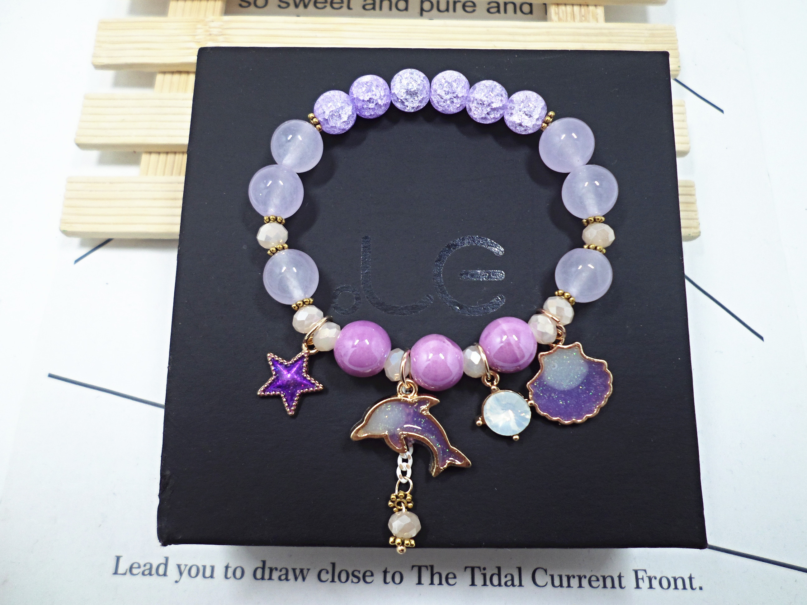 Wholesale Korean Sweet Marine Dolphin Shell Flower Charm Bracelet Crystal Beads Bracelets for Women Beach Holiday Fashion Jewelry VGB100 1