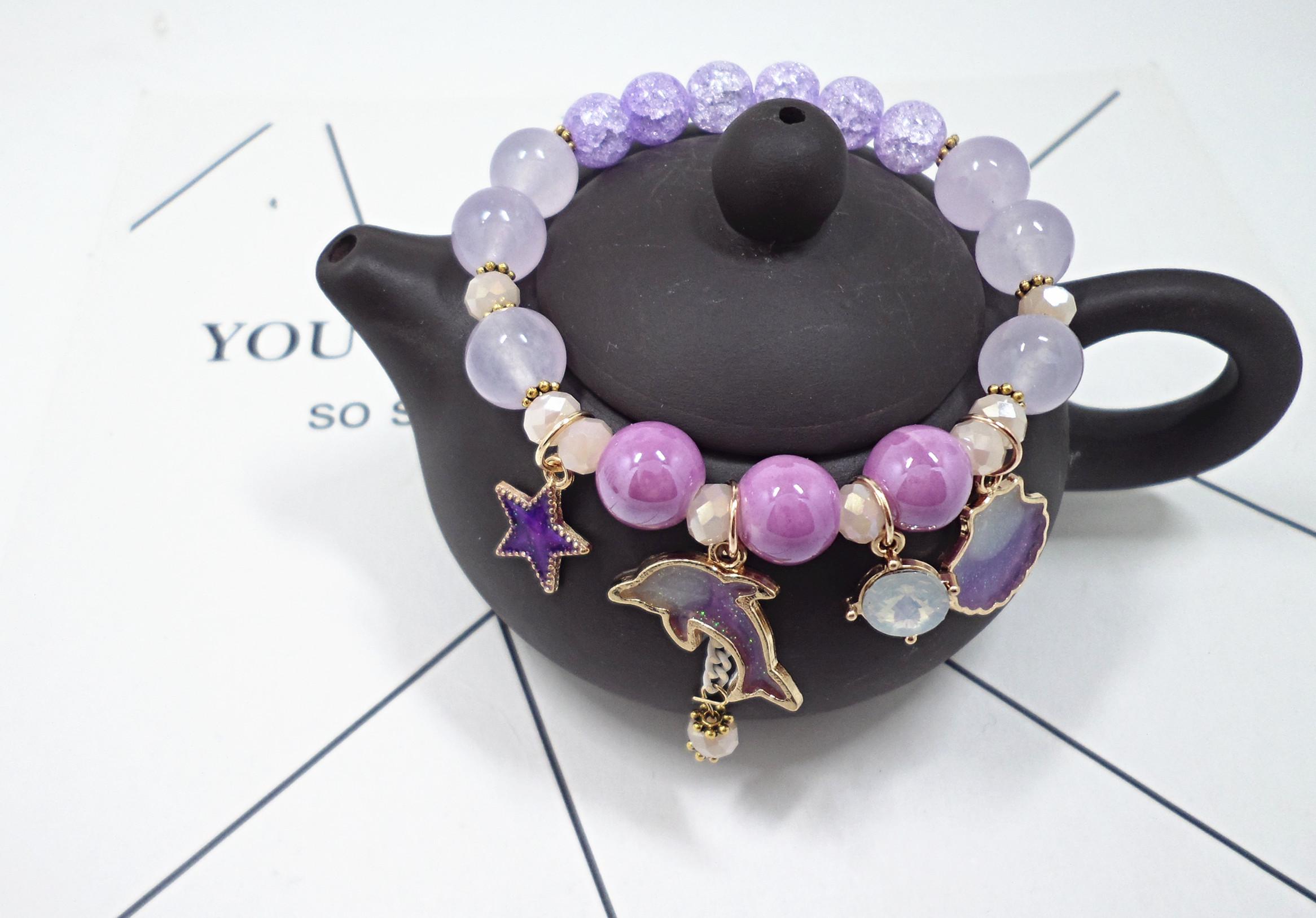 Wholesale Korean Sweet Marine Dolphin Shell Flower Charm Bracelet Crystal Beads Bracelets for Women Beach Holiday Fashion Jewelry VGB100 5