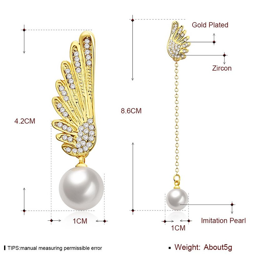 Wholesale Classic Gold Christmas Wing Stud Earring Fashion Ladies Simple Asymmetric Angel Wings Pearls Drop woman Earrings TGGPE282 4
