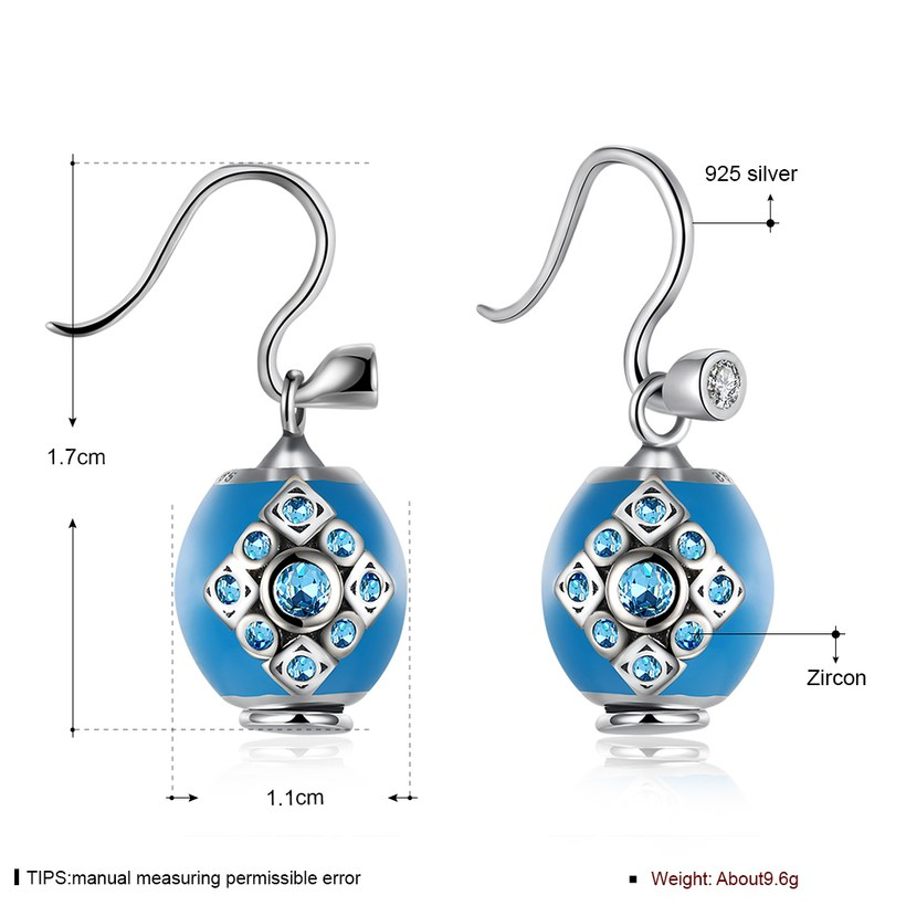 Wholesale Bohemian style popular 925 Sterling Silver round ball dangle earring blue Earrings For Women Banquet fine gift TGSLE153 0