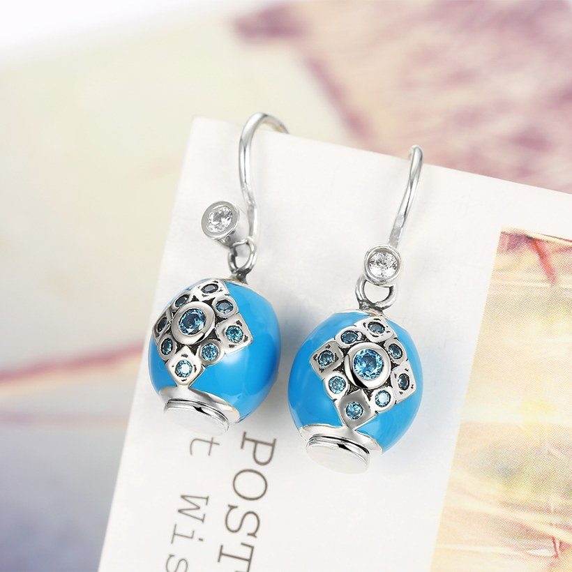Wholesale Bohemian style popular 925 Sterling Silver round ball dangle earring blue Earrings For Women Banquet fine gift TGSLE153 1