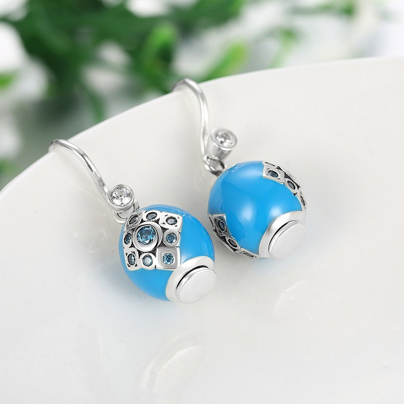 Wholesale Bohemian style popular 925 Sterling Silver round ball dangle earring blue Earrings For Women Banquet fine gift TGSLE153 2