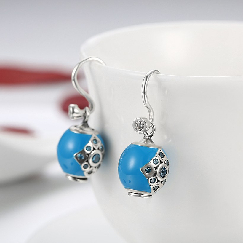 Wholesale Bohemian style popular 925 Sterling Silver round ball dangle earring blue Earrings For Women Banquet fine gift TGSLE153 3
