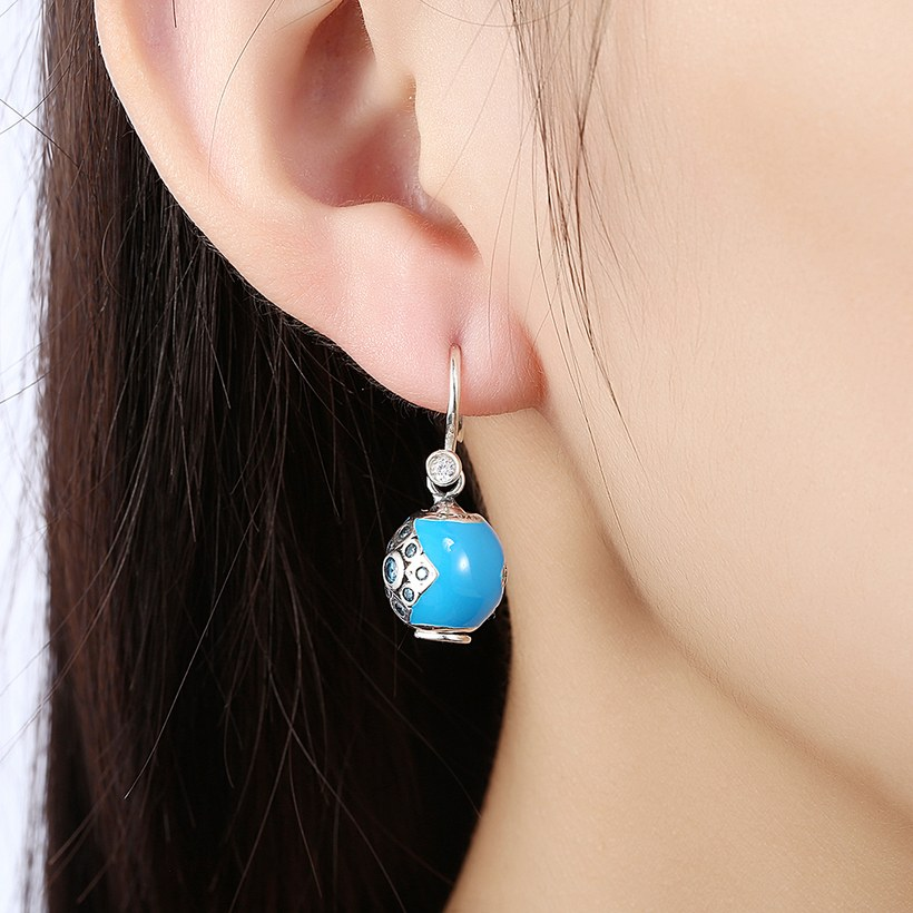 Wholesale Bohemian style popular 925 Sterling Silver round ball dangle earring blue Earrings For Women Banquet fine gift TGSLE153 4