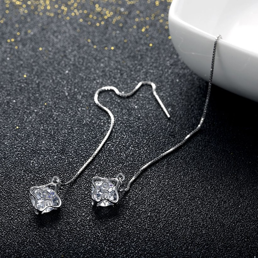 Wholesale Temperament Long Earrings for Women Party Jewelry Shiny CZ Stone Dangle Earrings Birthday Anniversary Gifts  TGSLE188 3