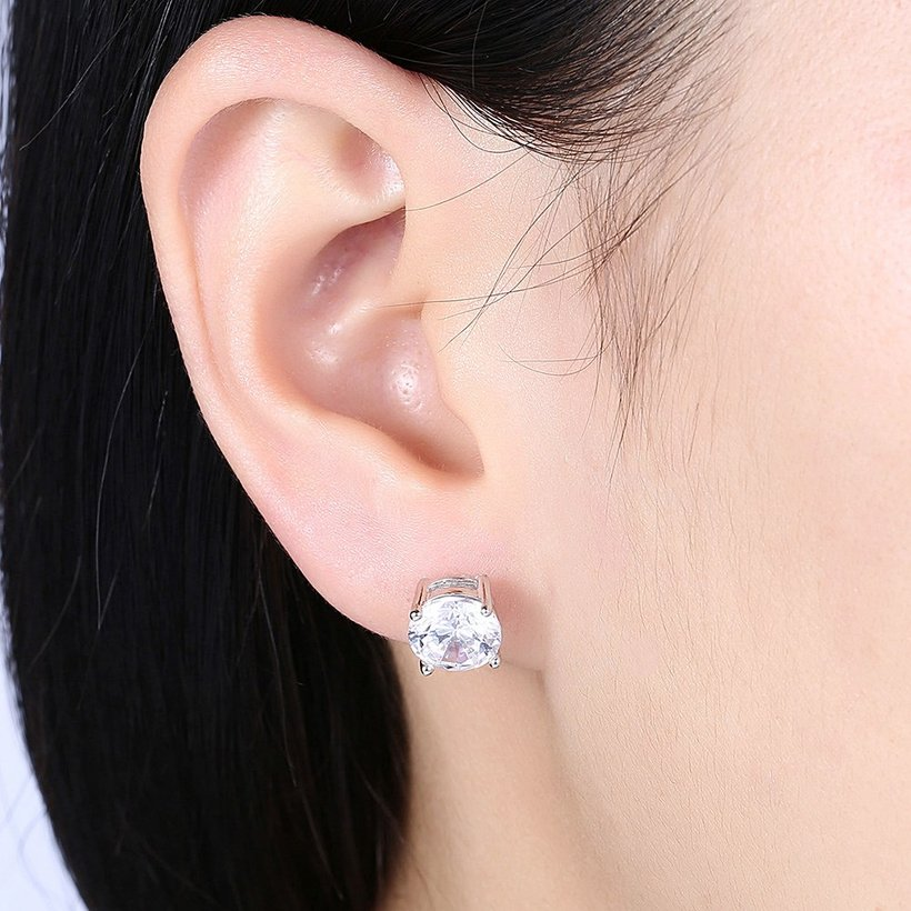 Wholesale Trendy AAA Zircon Crystal Round Small Stud Earrings Wedding 925 Sterling Silver Earring for Women Girls Fashion Jewelry Gift TGSLE006 0