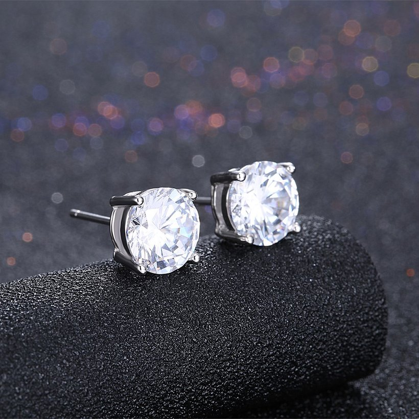 Wholesale Trendy AAA Zircon Crystal Round Small Stud Earrings Wedding 925 Sterling Silver Earring for Women Girls Fashion Jewelry Gift TGSLE006 1