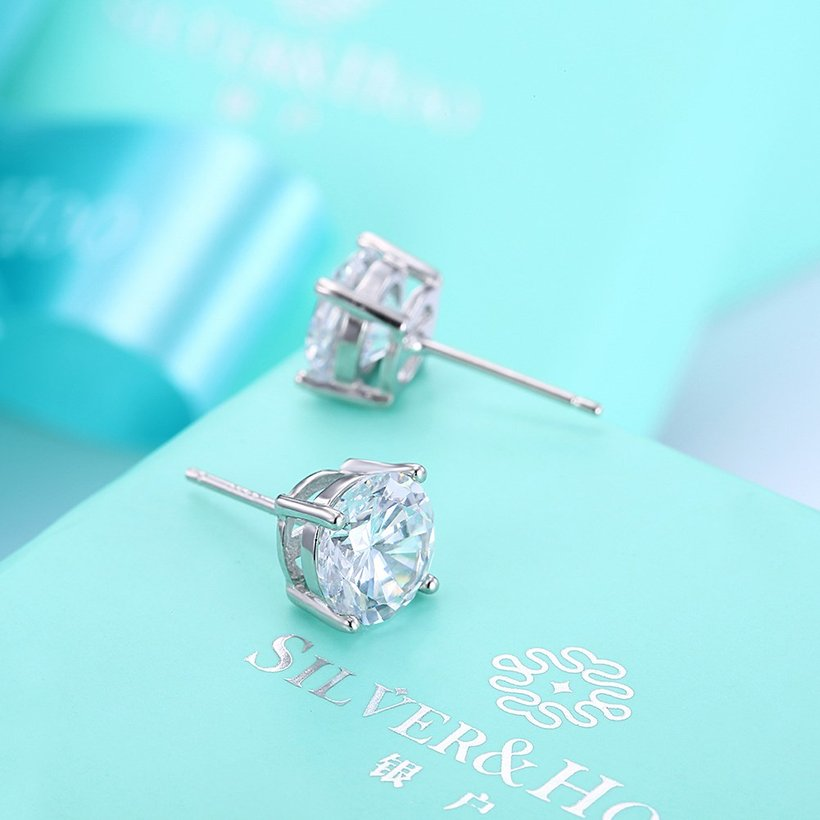 Wholesale Trendy AAA Zircon Crystal Round Small Stud Earrings Wedding 925 Sterling Silver Earring for Women Girls Fashion Jewelry Gift TGSLE006 2