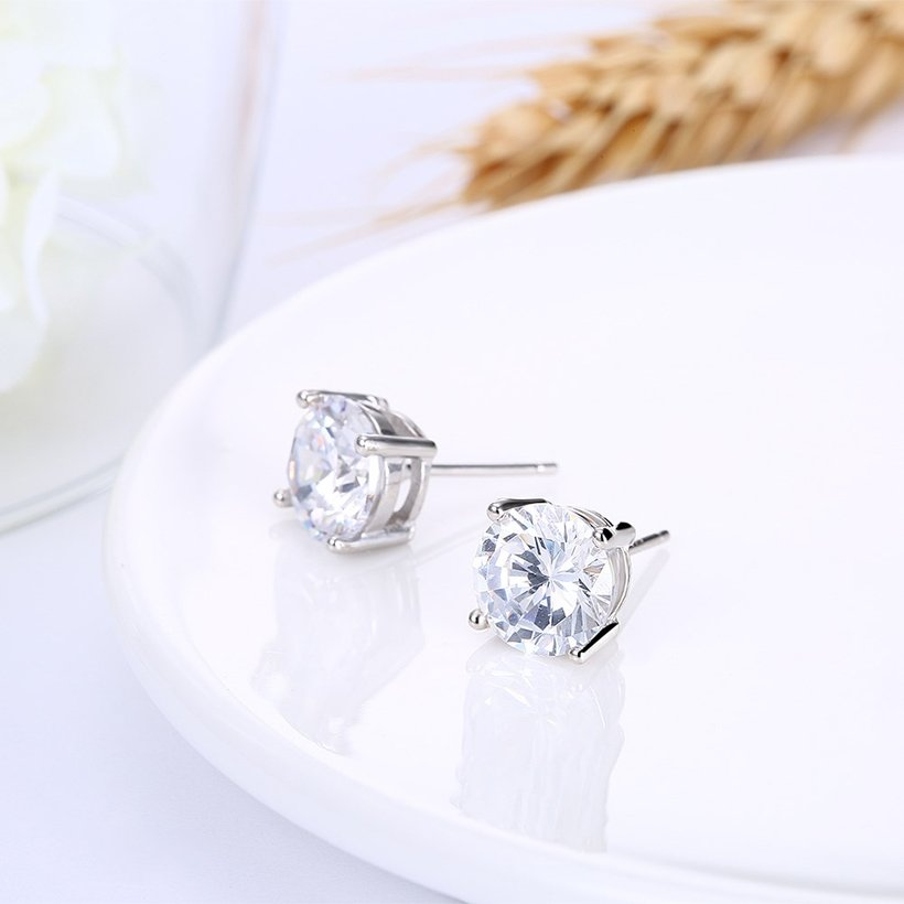 Wholesale Trendy AAA Zircon Crystal Round Small Stud Earrings Wedding 925 Sterling Silver Earring for Women Girls Fashion Jewelry Gift TGSLE006 3