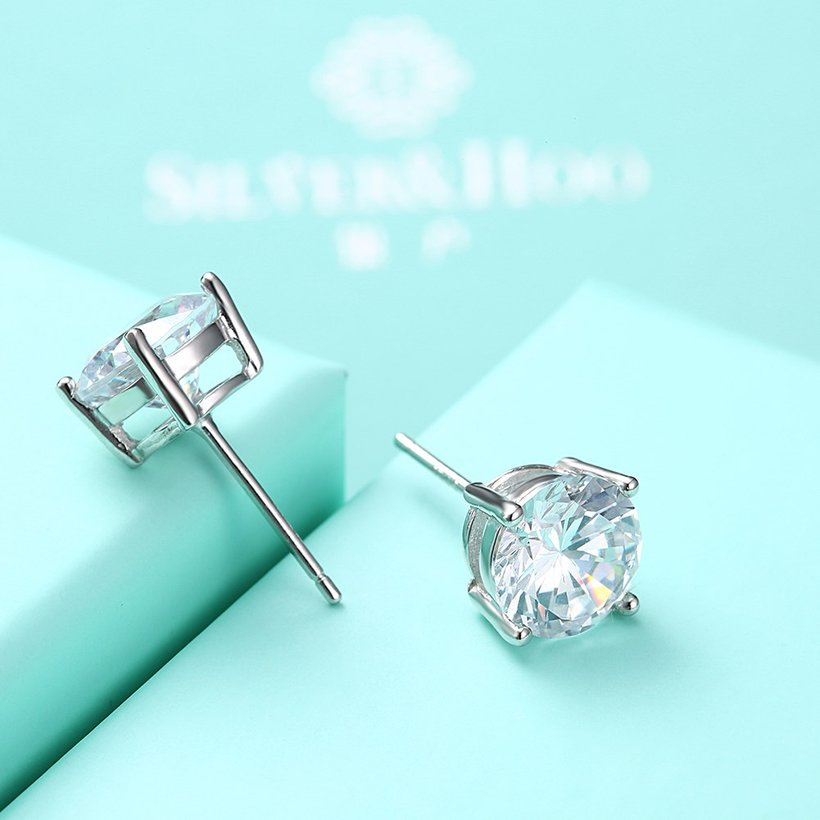 Wholesale Trendy AAA Zircon Crystal Round Small Stud Earrings Wedding 925 Sterling Silver Earring for Women Girls Fashion Jewelry Gift TGSLE006 4