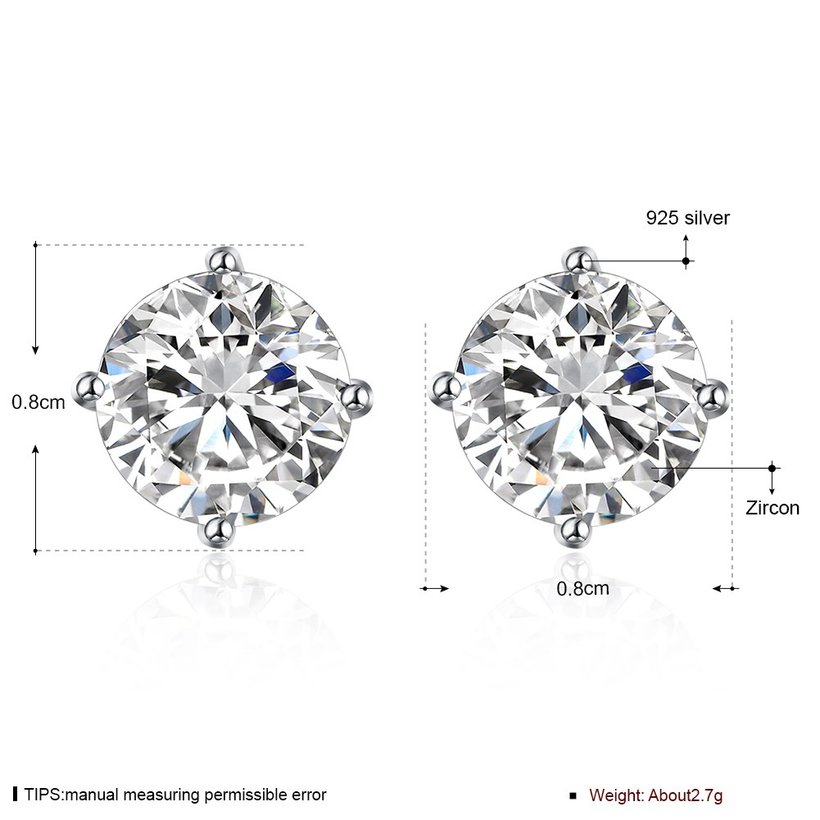 Wholesale Trendy AAA Zircon Crystal Round Small Stud Earrings Wedding 925 Sterling Silver Earring for Women Girls Fashion Jewelry Gift TGSLE006 5
