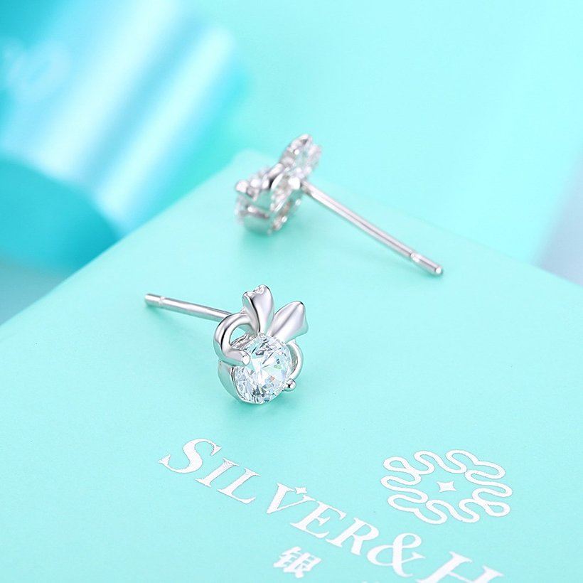 Wholesale Hot wholesale jewelry Fashion romantic 925 Sterling Silver Stud Earrings High Quality Woman Jewelry cute shiny Zircon Earrings TGSLE018 2