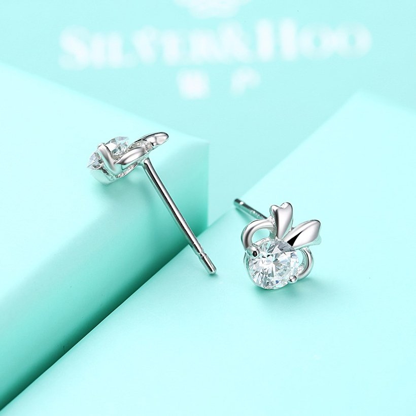 Wholesale Hot wholesale jewelry Fashion romantic 925 Sterling Silver Stud Earrings High Quality Woman Jewelry cute shiny Zircon Earrings TGSLE018 4