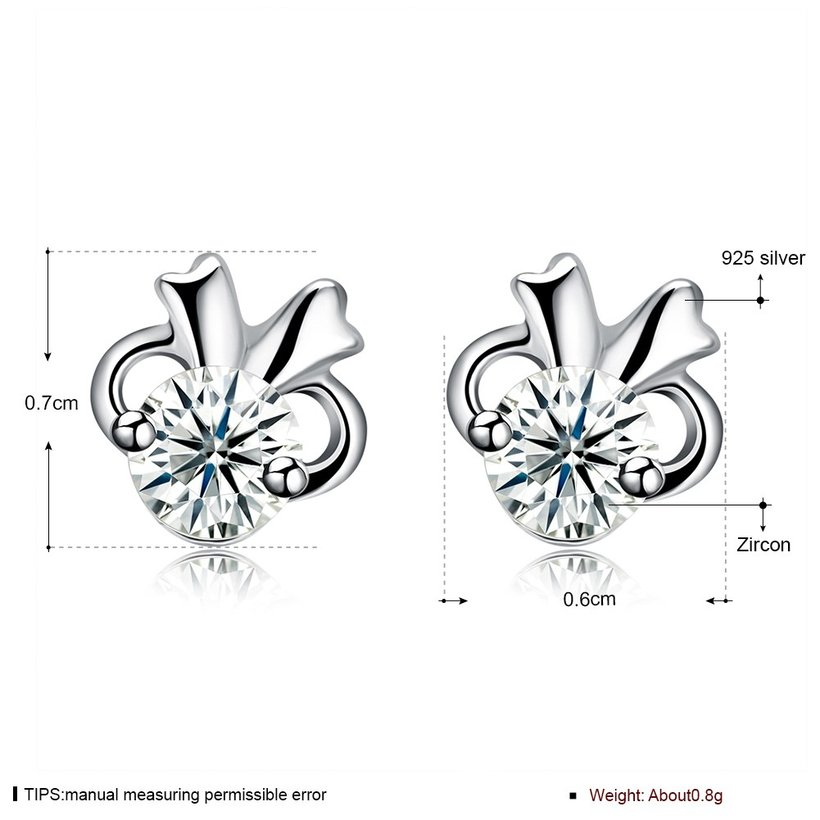 Wholesale Hot wholesale jewelry Fashion romantic 925 Sterling Silver Stud Earrings High Quality Woman Jewelry cute shiny Zircon Earrings TGSLE018 5