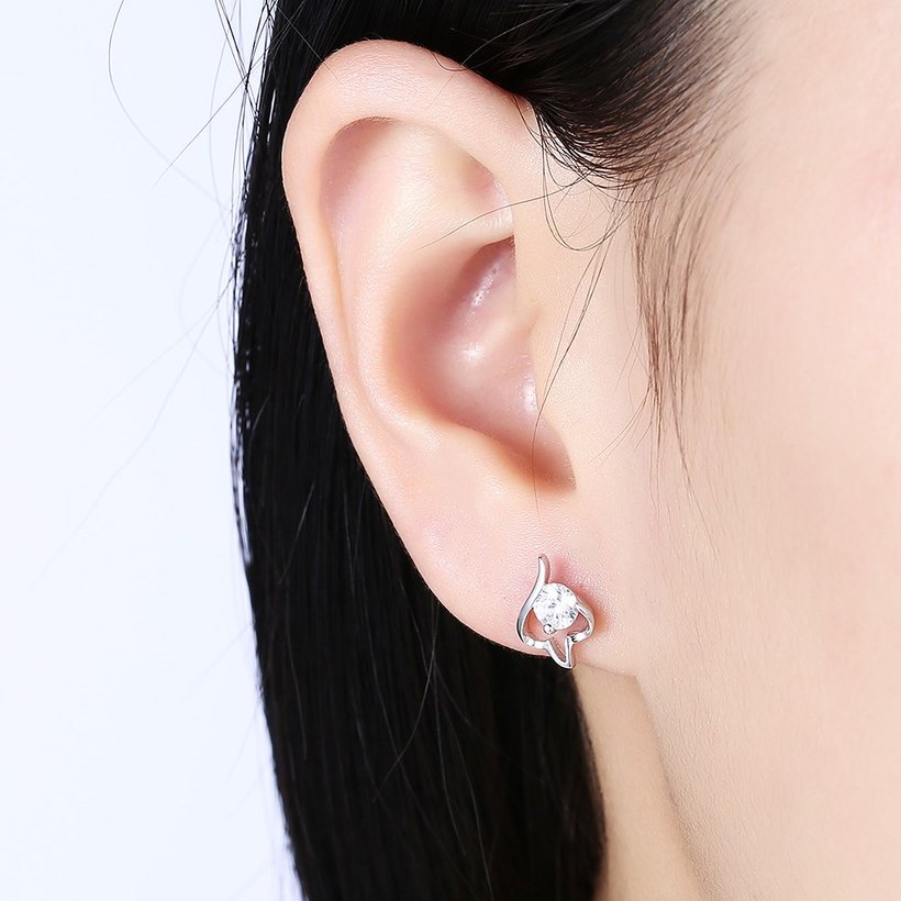 Wholesale Trendy Creative Female Small Stud Earrings 925 Sterling Silver delicate shinny Crystal Earrings Wedding party jewelry wholesale TGSLE079 0