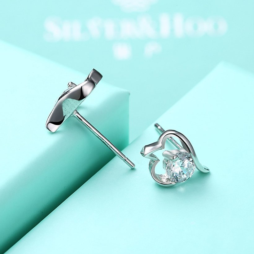 Wholesale Trendy Creative Female Small Stud Earrings 925 Sterling Silver delicate shinny Crystal Earrings Wedding party jewelry wholesale TGSLE079 4