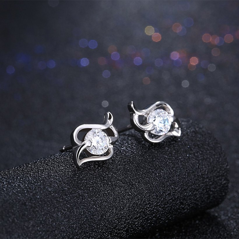 Wholesale Trendy Creative Female Stud Earrings 925 Sterling Silver delicate shinny Crystal Earrings Wedding party jewelry wholesale China TGSLE097 1