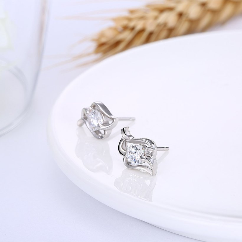 Wholesale Trendy Creative Female Stud Earrings 925 Sterling Silver delicate shinny Crystal Earrings Wedding party jewelry wholesale China TGSLE097 3