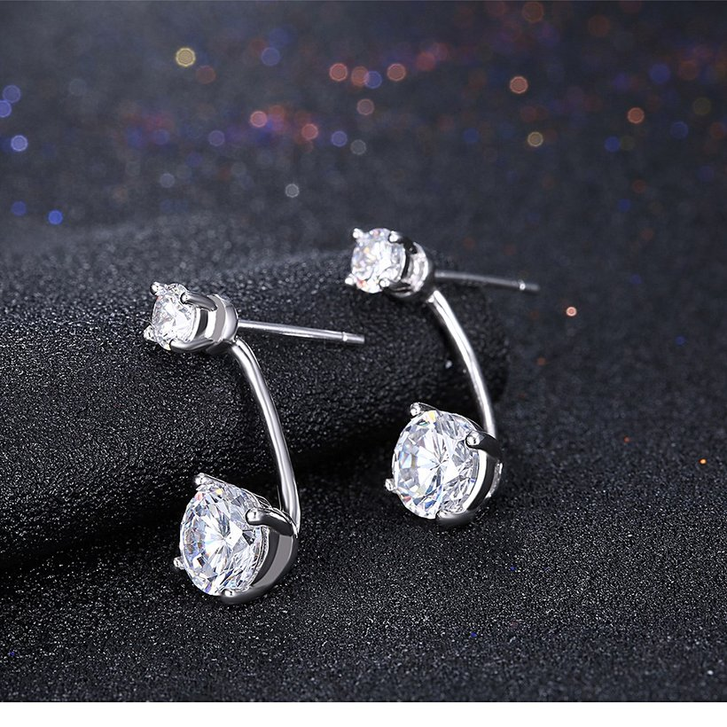 Wholesale Fashion delicate 925 Sterling Silver Four Claws Jewelry Shine AAA Zircon Earrings For Women Girls New Gift Banquet Wedding TGSLE098 1
