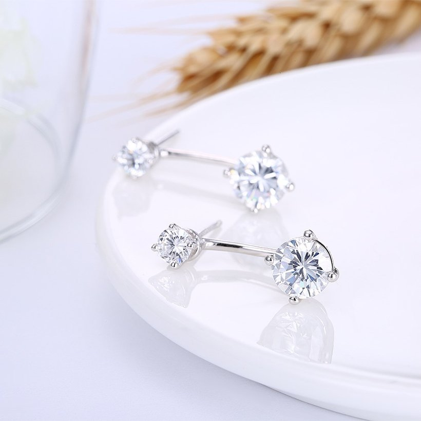 Wholesale Fashion delicate 925 Sterling Silver Four Claws Jewelry Shine AAA Zircon Earrings For Women Girls New Gift Banquet Wedding TGSLE098 3