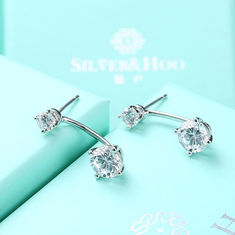 Wholesale Fashion delicate 925 Sterling Silver Four Claws Jewelry Shine AAA Zircon Earrings For Women Girls New Gift Banquet Wedding TGSLE098 4