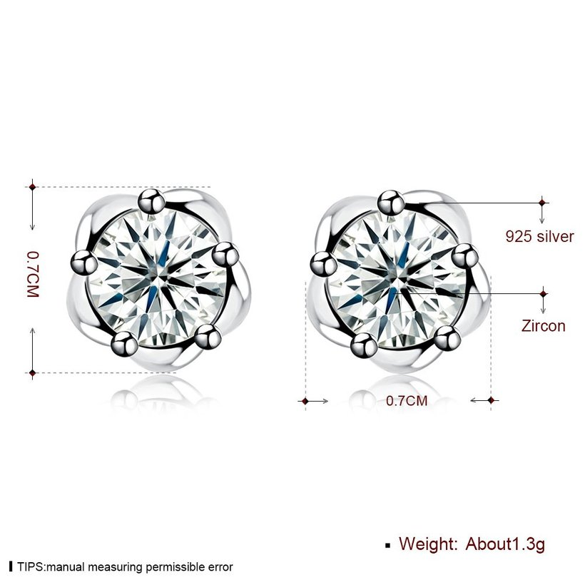 Wholesale Fashion delicate 925 Sterling Silver Four Claws Jewelry Shine AAA Zircon Earrings For Women Girls New Gift Banquet Wedding TGSLE102 5