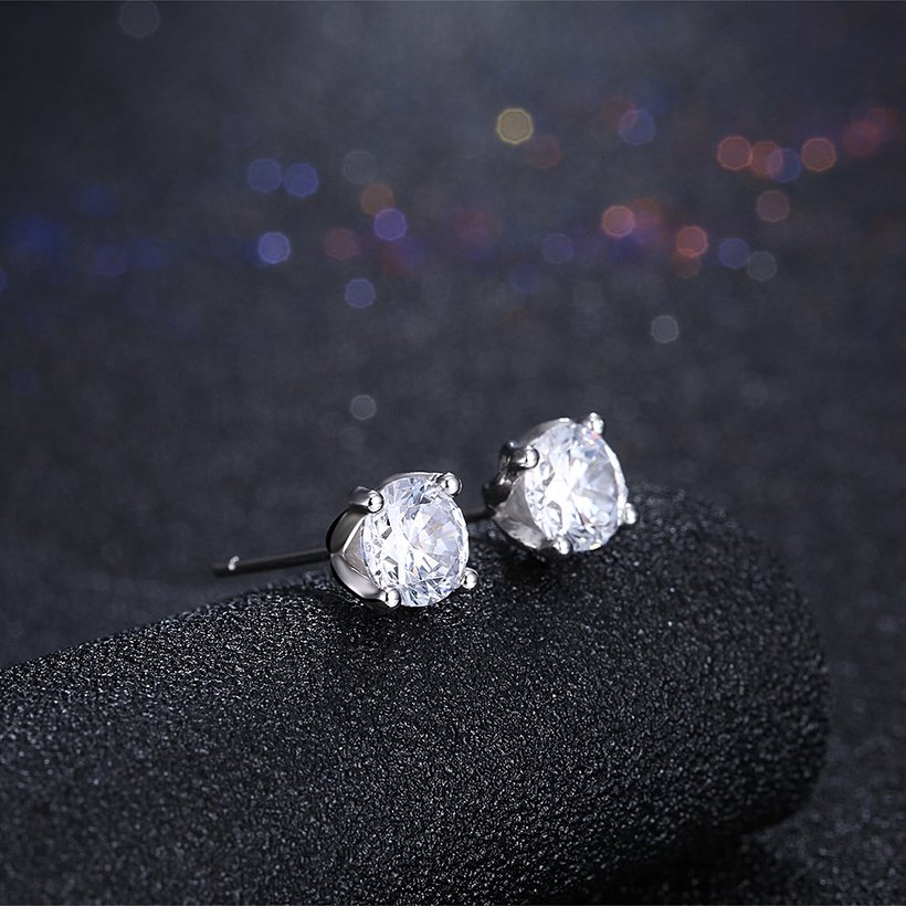 Wholesale Simple Fashion AAA Zircon Crystal Round Small Stud Earrings Wedding 925 Sterling Silver Earring for Women Girls Jewelry Gift TGSLE109 1