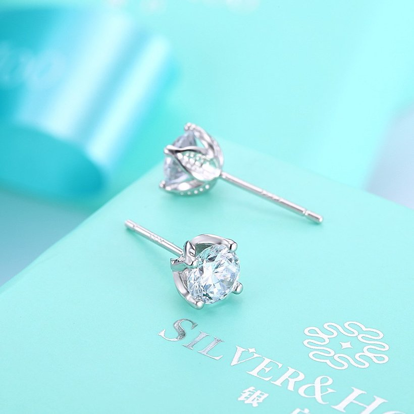 Wholesale Simple Fashion AAA Zircon Crystal Round Small Stud Earrings Wedding 925 Sterling Silver Earring for Women Girls Jewelry Gift TGSLE109 2